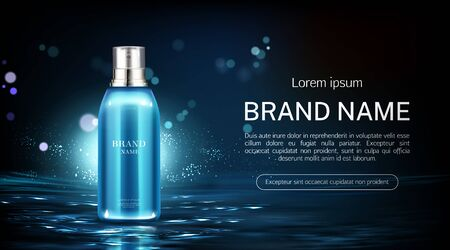 Cosmetics spray bottle mock up banner. Beauty product package on water surface background. Night moisturize lotion tube mockup, natural cosmetic skin care promo ad. Realistic 3d vector illustration Ilustracja
