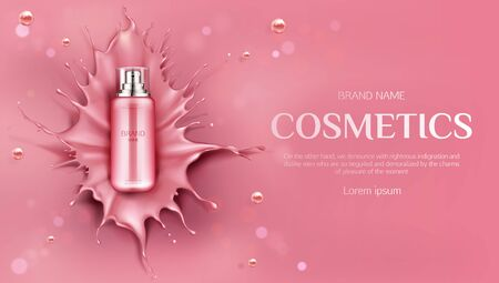 Cosmetics bottle mock up banner, beauty skin care cosmetic product spray tube on pink liquid splash background with drops. Lotion, gel package promo ad poster design. Realistic 3d vector illustration,