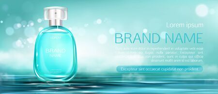 Perfume spray bottle mock up banner. Glass flask packaging design mockup on water surface blurred background. Scent fragrance cosmetic beauty product, promo ad banner. Realistic 3d vector illustration Ilustração