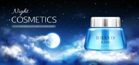 Night cosmetics jar banner mock up, beauty cream bottle on dark background with starry sky, full moon and clouds. Woman moisturize cosmetic advertising promo template. Realistic 3d vector illustration Foto de archivo - 131813334