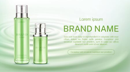 Cosmetics bottles mock up banner. Natural beauty product spray and pump tubes package on green water surface background. Eco moisturize cosmetic skin care promo ad. Realistic 3d vector illustration Foto de archivo - 131813403