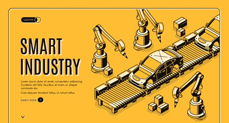 Smart industry isometric landing page, robots hands assemble car on conveyor belt. Innovation technology and factory automation process in manufacture. 3d vector illustration, line art, web banner Foto de archivo - 131813069