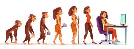 Évolution humaine du singe à la femme indépendante, chronologie Le personnage féminin évolue du singe aux montants homo sapiens à la fille à l'ordinateur isolé sur fond blanc. Illustration vectorielle de dessin animé Vecteurs