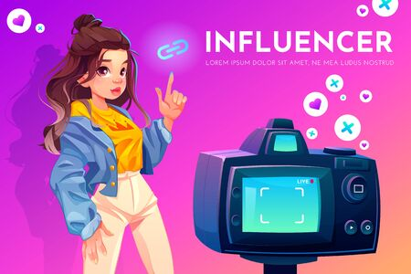 Influencer blogger girl in stylish clothes with crown print on t-shirt pointing on link icon stand in front of recording video camera. Social media live vlog broadcasting. Cartoon vector illustration Foto de archivo - 133026008