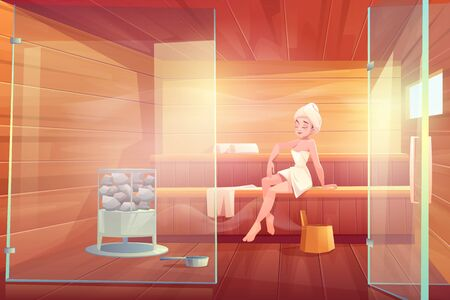 Woman in sauna take steam wellness spa procedure in bathhouse room with glass doors, hot stones and wooden shelves. Place for hygiene and relaxation at home or in hotel. Cartoon vector illustration Foto de archivo - 133026012
