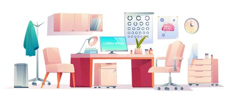 Doctor therapist office stuff set, cabinet interior equipment isolated on white background, medicine practitioner workplace with table, pc, armchairs, hanger with robe Cartoon vector illustration
