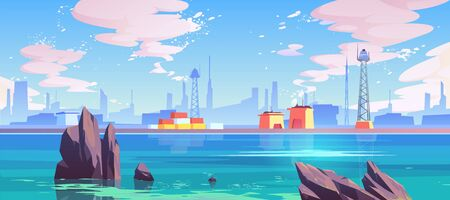 Sea port, industrial shipyard with cargo logistic containers for goods and telecommunication towers at waterfront under sun shining in cloudy sky. Marine seaside landscape Cartoon vector illustration Illustration