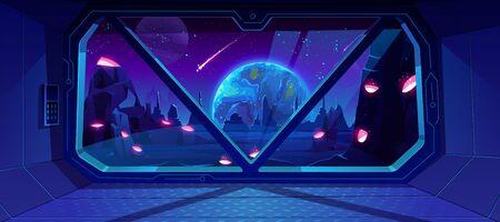 Raumschiff-Blick auf die Erde nachts von einem fremden Planeten mit Kratern, Neon-Weltraumhintergrund mit fallendem Meteor im dunklen Sternenhimmel, Fantasielandschaft durch Shuttle-Fenster. Cartoon-Vektor-Illustration Vektorgrafik