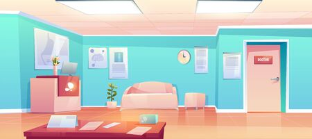 Hospital hallway, empty clinic corridor, hall interior with reception desk and Pc, couch for patients, door to doctor cabinet, table with papers, medical placards on wall. Cartoon vector illustration Foto de archivo - 131812116