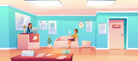 Patient in hospital waiting room. Woman in clinic hallway for doctor appointment sitting on couch in hall interior with reception desk, table with papers, medical placards Cartoon vector illustration Foto de archivo - 131814283
