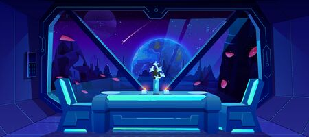 Futuristic cafe with spaceship view on Earth at night from alien planet. Served table and chairs stand at shuttle window with fantasy landscape, neon space background. Cartoon vector illustration Illustration