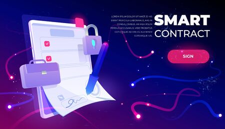 Smart contract web banner, e-signature on document at mobile screen, digital secured internet technology. Padlock and briefcase on futuristic neon background. Cartoon vector illustration, landing page