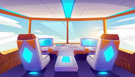 Jet cockpit, empty airplane cabin interior with seats for pilots, flight deck dashboard with navigation monitors, control panel and sky view in windows. Futuristic airliner Cartoon vector illustration Banque d'images - 131813606
