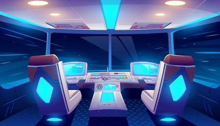 Jet cockpit at night, empty airplane cabin interior with seats for pilots, neon glowing flight deck with navigation monitors, control panel and starry sky view in windows. Cartoon vector illustration Foto de archivo - 131812084