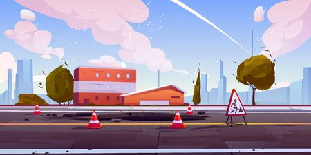 Road under construction cityscape street view with hole in asphalt pavement fenced with traffic cones and warning sign. Engineering works on roadway town skyline background Cartoon vector illustration Foto de archivo - 131814676