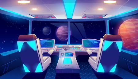 Spaceship cockpit interior with space and planets view, rocket cabin with control panel, neon glowing seats for pilots and flight deck with navigation monitors, pc game Cartoon vector illustration Vectores