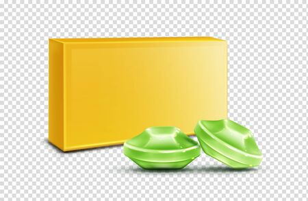 Throat lozenge, green cough drops mock up isolated on transparent background. Sore larynx pain remedy package design elements for advertising, flavored medical candies Realistic 3d vector illustration