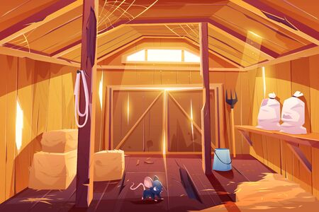 Mouse in farm barn house. Fieldmouse rodent in wooden ranch interior with haystacks, sacks, fork, huge gate and little window under ceiling. Countryside storehouse building Cartoon vector illustration