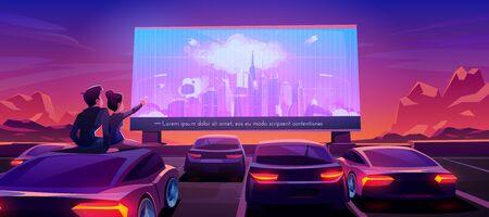 Coppia al cinema per auto. Incontri romantici nel teatro drive-in con automobili nel parcheggio all'aperto di notte. Uomo e donna seduti sul tetto dell'auto che guardano un film thriller. Fumetto illustrazione vettoriale