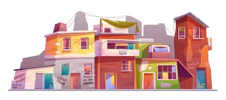 Getto met verwoeste gebouwen, verlaten oude huizen met kapotte ramen en gekrabbelde schilferige muren. Vervallen vuile straat woningen geïsoleerd op een witte achtergrond cartoon vectorillustratie, clip art