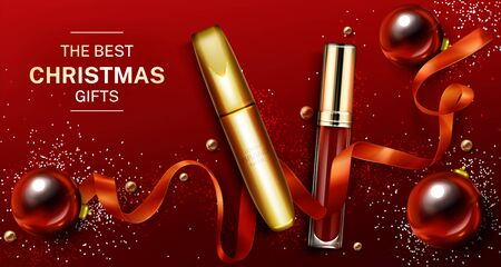 Mascara and lip gloss christmas cosmetics gifts mockup banner, liquid lipstick make up beauty product. Red and gold tubes on shiny xmas decoration background. Luxury promo poster realistic 3d vector