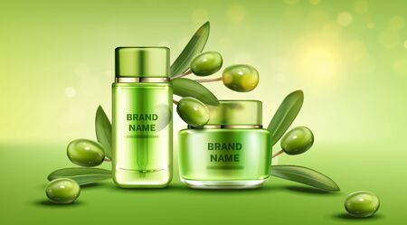 Olive cosmetics bottle and cream jar, natural beauty product line on green background with berries and leaves, cosmetic tubes mock up. Moisturize promo banner template Realistic 3d vector illustration Stock fotó - 134172557