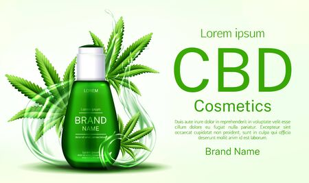 Cbd cosmetics bottle with water splashes and cannabis leaves web banner mockup, glass tube with hemp cannabinoid extract. Legal marijuanna weed thc cosmetic product. Realistic 3d vector illustration
