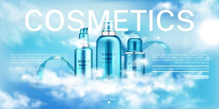 Cosmetics bottles, beauty product line landing page banner mock up, spray and pump tubes on blue cloudy sky background. Moisturize cosmetic advertising promo template. Realistic 3d vector illustration Stock fotó - 134172559
