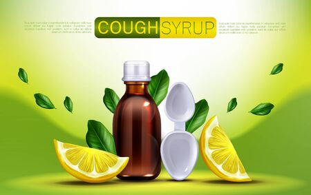 Cough syrup with lemon flavour banner mock up. Brown glass blank bottle and spoon with citrus slices and green leaves, flu remedy package design for medical promo ads. Realistic 3d vector illustration Illusztráció