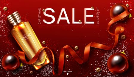 Cosmetics christmas sale banner, gift beauty product gold cosmetic tube on red shiny xmas or new year background with festive decoration baubles ribbon and sparkles. Realistic 3d vector illustration
