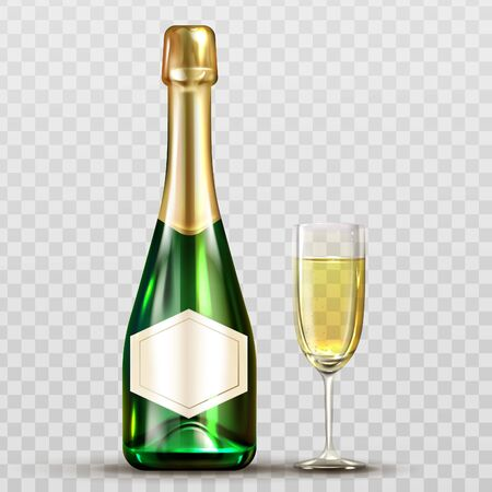 Champagne bottle and wineglass. Sparkling wine and glass elements isolated on transparent background. Closed green flask of bubbly drink and gold blank label Realistic 3d vector illustration, clip art Stock fotó - 134172567