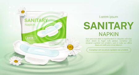 Damenbinden-Paket mit Kamillenblüten-Mock-up-Banner. Weibliche Hygienepads mit Schutzprodukt vier Tropfen Tageszeit, einzelnes mit Flügeln, Werbeplakat Vektor-3D-Illustration