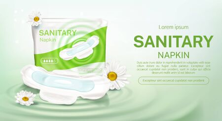 Sanitary napkins package with chamomile flower mock up banner. Feminine hygienic pads pack with protective product four drops day time, single one with wings, advertising poster Vector 3d illustration