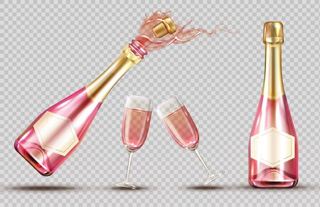 Pink champagne explosion bottle and wineglass set. Closed and open bubbly flasks with glasses, sparkling wine drink mockup isolated on transparent background. Realistic 3d vector illustration, clipart Stock fotó - 134172594