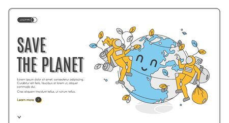 Save the planet isometric landing page, earth day celebration. Astronauts volunteers care of globe cleaning garbage and planting trees. Ecological protection 3d vector web banner template, line art Stock fotó - 134172597