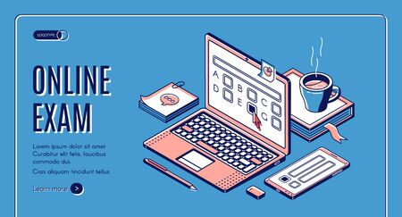 Online exam isometric web banner. Laptop with test questions on screen. Computer app for student examination with questionnaire form, distant education task. 3d vector landing page in line art style