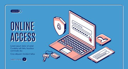 Online access isometric web banner. Login and password enter page on laptop screen, user account verification and privacy, website sign in or register form. 3d vector landing page in line art style Illustration
