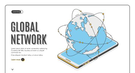 Global network isometric landing page. Earth planet lying on mobile phone screen, worldwide wireless technology connection, internet communication system. 3d vector web banner template, line art Stock fotó - 134172603