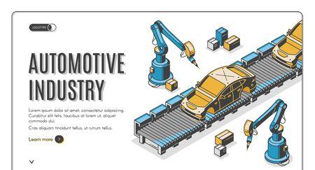 Automotive industry isometric landing page, robots hands assemble car on conveyor belt. Innovation technology and factory automation process in manufacture. 3d vector illustration, line art web banner Illusztráció