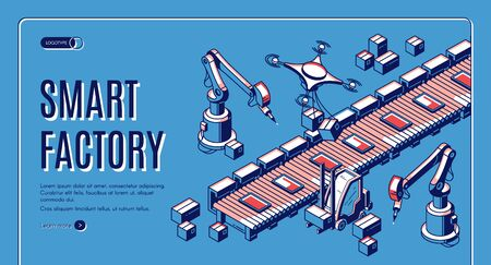Smart factory isometric web banner. Smart robots hands work on assemble line, drones take production from conveyor belt for delivery. Automation process 3d vector illustration, line art landing page Stock fotó - 134172601