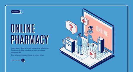 Online pharmacy isometric web banner. Customer communicate with pharmacist at huge laptop with drugstore and medicine lying on shelf. Healthcare business. 3d vector landing page in line art style