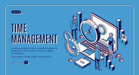 Time management landing page. Laptop with office gears and watches, task prioritizing, organization for effective productivity. Optimization planning time isometric vector illustration line art banner Stock fotó - 134172599