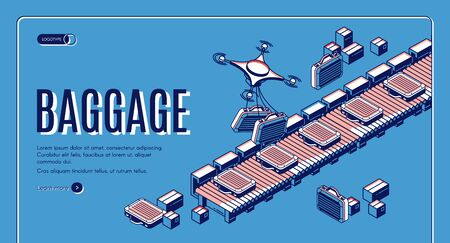 Baggage in airport conveyor isometric landing page. Drones loading luggage on belt for passengers claim. Travel bags delivering with quadrocopters in terminal. 3d vector web banner template, line art Stock fotó - 134172604