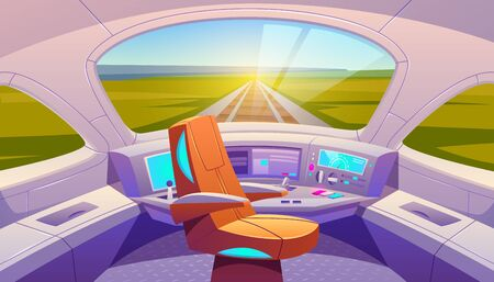 Train cockpit with control panel and armchair, empty railway car cabin with electronic dashboard, buttons and panoramic windows with rails and summer nature landscape view. Cartoon vector illustration Stock fotó - 134172613
