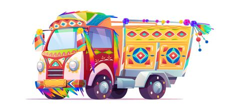 Jingle truck, Indian or Pakistan colorful ornate transport with motley elements isolated on white background, oriental cultural traditional lorry for holidays. Cartoon vector illustration, clip art