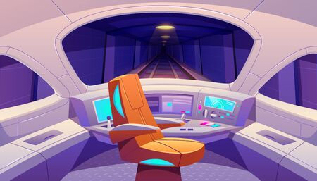 Train cockpit with control panel and armchair, empty railway car cabin with electronic dashboard, buttons and panoramic windows with rails and dark underground tunnel view. Cartoon vector illustration Stock fotó - 134172608