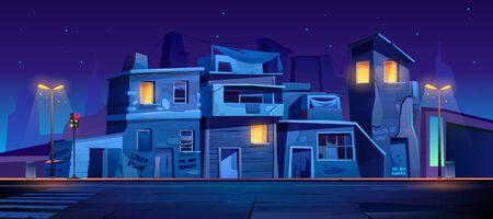Rue du ghetto la nuit, bidonvilles en ruines de maisons abandonnées, vieux bâtiments aux fenêtres rougeoyantes. Des habitations délabrées se tiennent au bord de la route avec un passage pour piétons, des lampes et des feux de circulation illustration vectorielle de dessin animé Vecteurs
