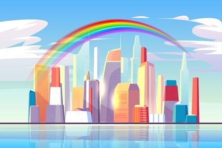 Rainbow above city skyline architecture near waterfront bay, modern megapolis with buildings skyscrapers reflecting in water surface under blue cloudy sky with sun rays. Cartoon vector illustration Illusztráció