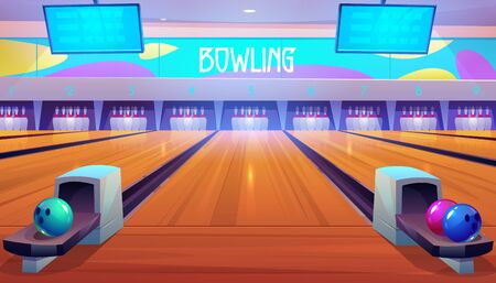 Bowling alleys with balls, pins and scoreboard screens. Empty club interior with skittles on lane, place for entertainment, leisure and sport tournaments. Recreation hobby. Cartoon vector illustration Illusztráció