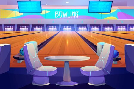 Bowling club interior with tables and armchairs stand near alleys with balls, pins and scoreboard screens. Empty place for entertainment, leisure and sports tournaments. Cartoon vector illustration Stock fotó - 134172668